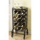 WINE RACK SMOKED GLASS TABLE TOP 15 BOTTLE HOLDER STORAGE DISPLAY CONNOISSEUR