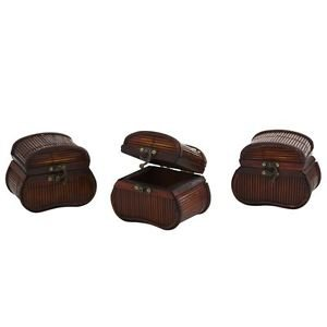 Bamboo Chests 3 Set Jewelry Coins KeepSafes  Heirlooms Gift Decor Latch Lock