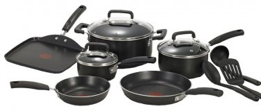 COOKWARE STAINLESS NONSTICK HARD ANODIZED THERMO-SPOT POTS PANS LIDS 12-PC SET