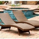 Chaise Lounge Wicker Adjustable Brown 2-Set Pool Outdoor Patio Deck Yard Garden