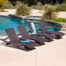 Outdoor Lounge Set Brown Wicker 4 Adjustable Chairs Weather Resistant Pool Patio