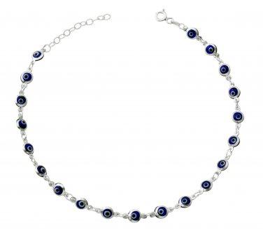 """Blue Evil Eye Beads Anklet Bracelet on 925 Sterling Silver Adjustable 8.5"""" - 9.5"""""""