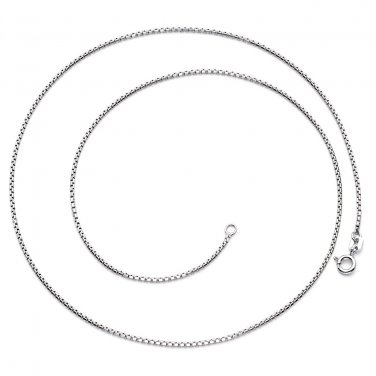 """Sterling Silver 1mm Box Chain Necklace Made in Italy,  18"""""""