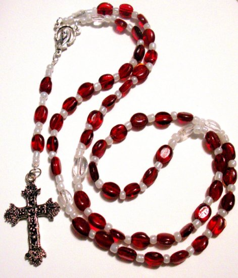 Red and White Glass Bead Rosary SRAJD