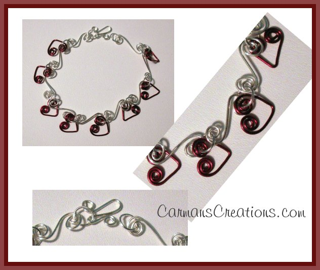 Silver and Burgundy Heart Wire Bracelet   SRAJD