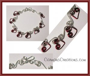 Silver and Burgundy Heart Wire Bracelet   SRAJD