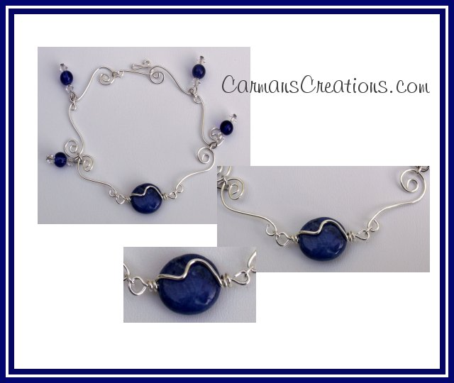 Howlite Lapis Lazuli and Swirl Bracelet   SRAJD