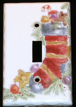 Christmas Stocking with Toys Light Switch Plate Cover