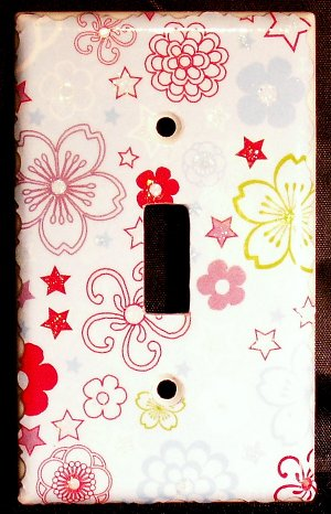 Glitter Flowers Light Switch Plate Cover
