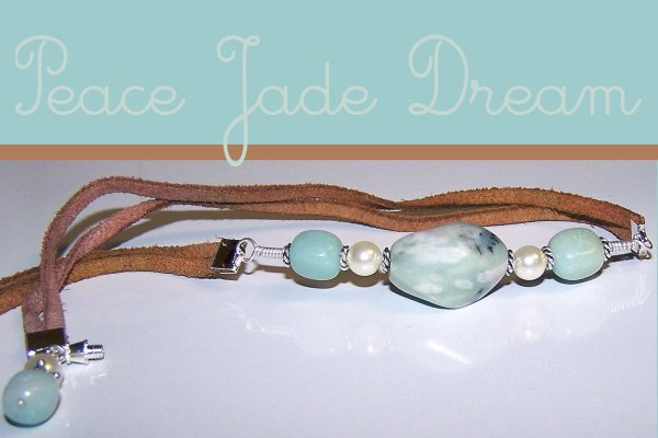 Leather Necklace with Sterling, Pearl, Jade, and Amazonite Centerpiece