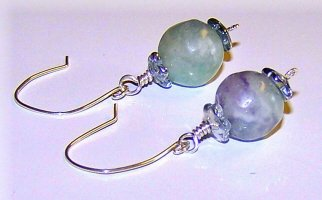 Rainbow Fluorite and Sterling Silver Earrings