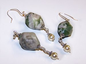Peace Jade Twist Beads, Sterling Silver, and Lustrous Pearl Earrings and Pendant Set