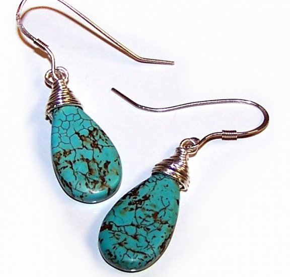 Turquoise Teardrop Briolette beads wire-wrapped with Sterling Silver Earrings