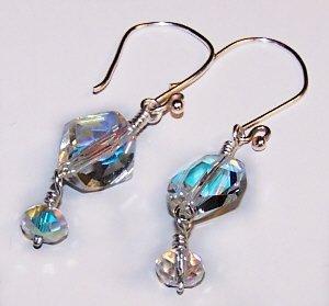 Geometric Aurora Borealis Swarovski Crystal Earrings