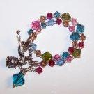 Hibiscus mix Swarovski Crystal Charm Bracelet