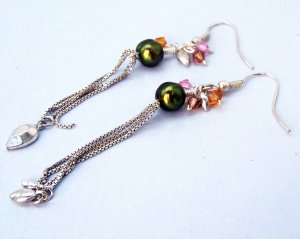 Whimsical Pearl, Swarovski Crystals, and Chain Earrings