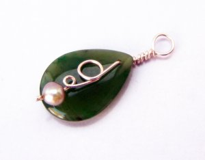 Green Jade Teardrop Coiled Vine and Pearl Pendant