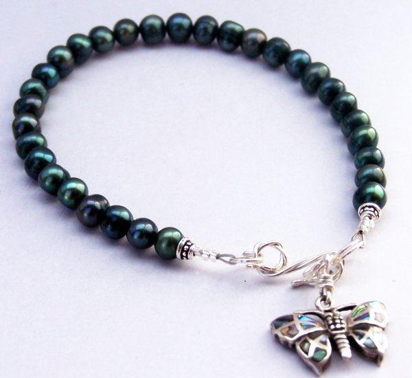 Lustrous Blue-Green Freshwater Pearl and Abalone Sterling Silver Butterfly Charm Bracelet