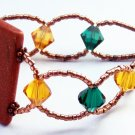 Goldstone, Copper, and Swarovski Crystals loop clasp bracelet