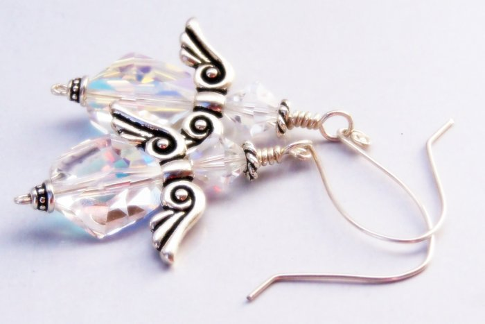 Aurora Borealis and Sterling Silver Angel Earrings