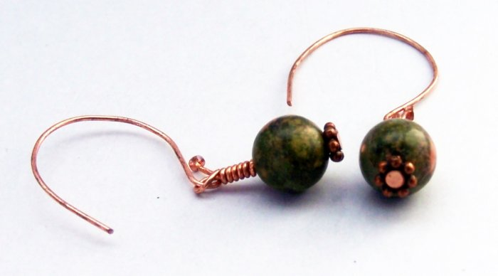 Unakite Beads and Copper Daisy Spacers Earrings