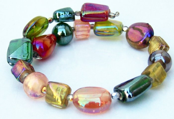 Colorful Luster Glass Beads and Czech Crystal Memory Bracelet