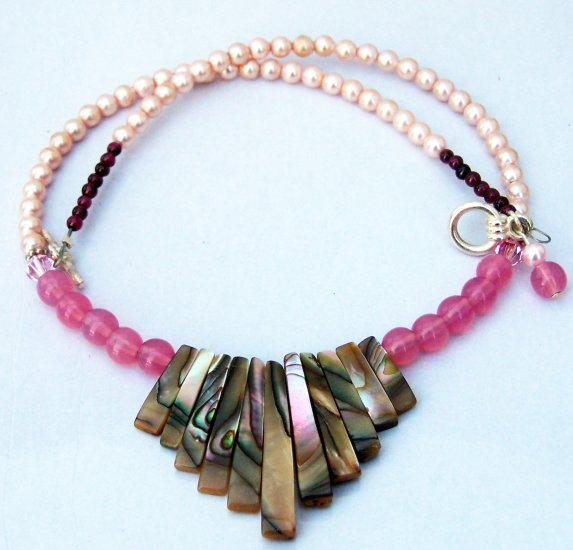 Garnet, Pearl, and Abalone Pink Necklace