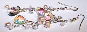 Geometric Aurora Borealis Swarovski Crystals and Freshwater Pearls Large Link Chain Earrings
