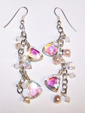 Geometric Aurora Borealis Swarovski Crystals and Freshwater Pearl Earrings