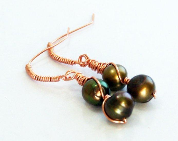 Rich Green Bronze Pearl Wire Wrapped Copper Earrings