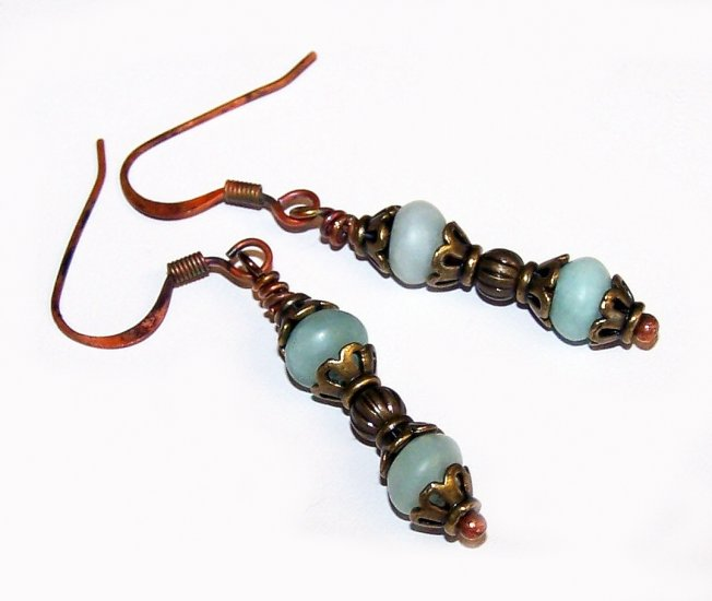 Teal Rondelle and Antique Brass findings vintage style earrings