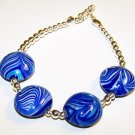 Bright Blue and Silver Swirly Beads Bracelet