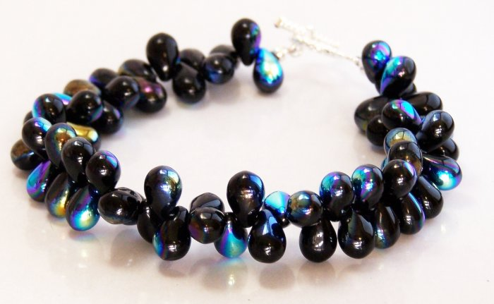 Black Aurora Borealis Dew Drops Toggle Bracelet