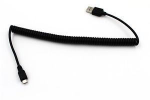 5Ft Micro USB Charger Spring Cable Cord for MP4 Mobile Phone In Car