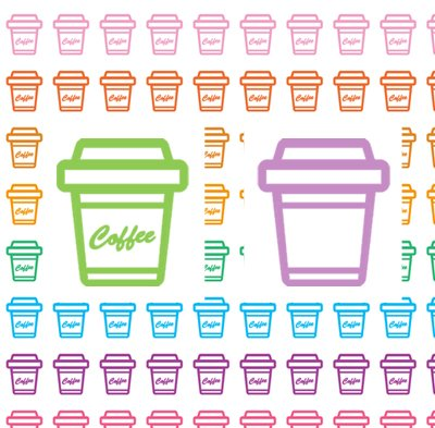 Coffee Cup Printable Planner Stickers Tea Chocolate Milk Drinks Colors Icon PDF Decorative Planner