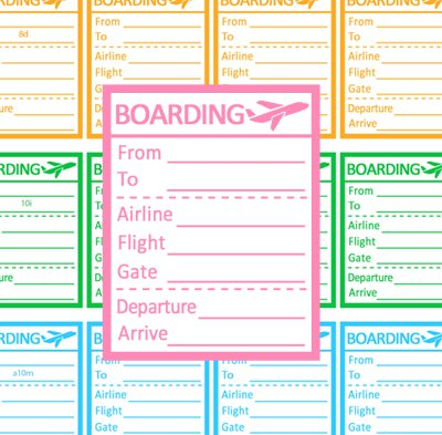 Travel Flight Tracking Boxes Printable Planner Stickers Airplane Boarding Color Labels PDF