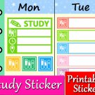Study Printable Planner Stickers Reading Homework Color Labels Set PDF