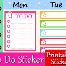 To Do Printable Planner Stickers Schedule List Color Labels Set PDF