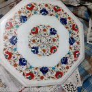 """12"""" Marble Table Top Mosaic Inlaid Lapis Mosaic Handmade Coffee Centre Table Art"""