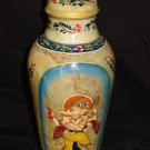 Marble Hand Painted Ganesha Peacock Flower Vase Pot Design Collectible Home Art