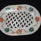 Marble Soap Dish Oval Holder Bathroom Pietra Dura Inlaid Decor Floral Design Art