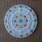 "15"" Marble Filigree Paua Shell Marble Plate Handmade Pietra Dura Semi Precious"