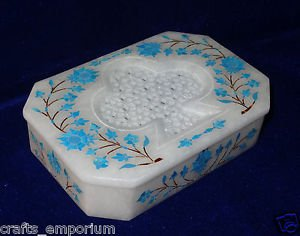 "6""x4""x1.5"" White Marble Jewelry Box Turquoise Handmade Pietra Dura Semi Precious"