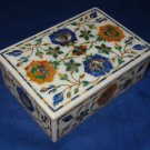"""6""""x4""""x2"""" Marble Marquetry Lapis Lazuli Malachite Jewelry Box Trinket Pietra Dura"""