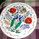 "12"" Marble Plate Handmade Peacock Art Paua Shell Hakik Floral High Work Inlaid"