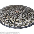 4'x4' Black Round Marble Dining Table Top Mother Of Pearl Pietra Dura Inlay Arts