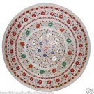 Size 4'x4' White Marble Round Dining Coffee Side Table Top Inlay Gems Art H901A