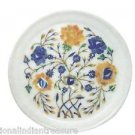 "8"" White Lapis Lazuli Paua Shell Marquetry Marble Plate Mosaic Handmade Decor"