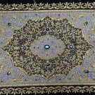 1.5'x2' Zardozi Jewel Carpet Handmade Wall Decoration with Traditional Stone Art