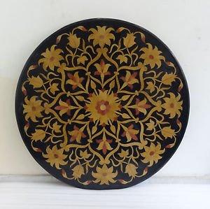 "36"" Black Marble Large Diningtable Coffee Top Handicraft Pietra Dura Decor Gifts"